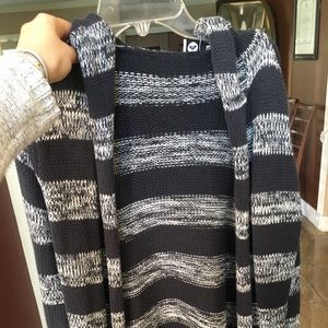 Roxy blue and white knitted, hooded cardigan